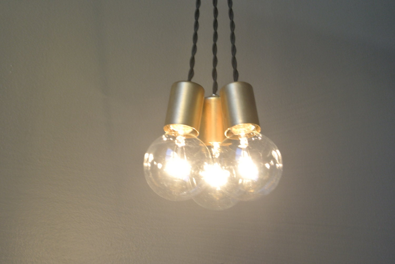 Brass edison bulb pendant light chandelier by pepeandcarols - Hanging bulb chandelier ...