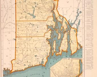 1939 Rhode Island Vintage Atlas Map