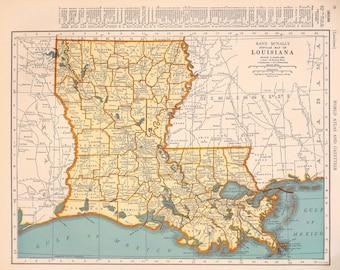 1939 Louisiana Vintage Atlas Map