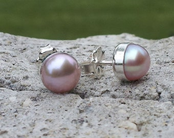 6mm Pink Lavender Freshwater Pearl Stud Post Earrings Fine Sterling Silver Shiny Finish