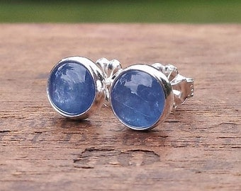 6mm Kyanite Gemstone Stud Post Earrings Fine Sterling Silver Shiny Finish - Little Bits of Color