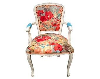 Vintage French Arm Chair Bergere Upholstered Painted Pink Blue Aqua Yellow Coral Poppy Colorful Floral Fabric Modern Chic Chair