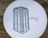 TARDIS Embroidery Hoop Art - 8 Inch Hoop - Doctor Who - Sci FI - Geekery