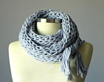 Knit infinity scarf, handmade women accessories, winter fashion, powder lilac, valentine's day gifts