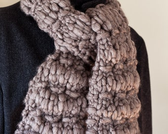Knit Scarf warm and thick in purple grey