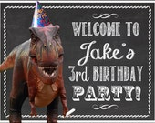 Dinosaur Birthday Party Door Sign -- 8.5x11""