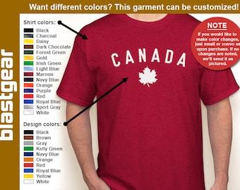 CANADA maple leaf retro style T-shirt — Any color/Any size - Adult S, M, L, XL, 2XL, 3XL, 4XL, 5XL  Youth S, M, L, XL