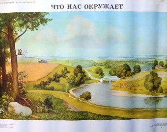 Vintage School Poster Seasons - Summer, Landscape