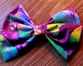 hair bow - purple tie dye