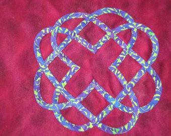 Purple and Green Celtic Knot, Cotton Appliqued Tote