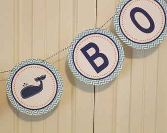 WHALE OF A TALE Baby Shower or Birthday Banner Navy Light Blue Orange - Party Packs Available