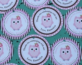 LOOK WHOOO'S .... OWL Theme Birthday or Baby Shower  Favor Tags or Stickers set of 12 {One Dozen} Pink Brown - Party Packs Available