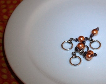 Champagne Pearl Stitch Markers Large