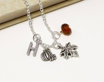 Personalized Autumn Necklace with Your Initial and Birthstone