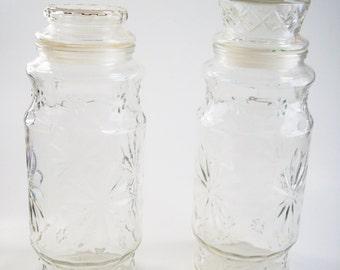 SALE Vintage Planters Peanuts Glass Jars Set of 2 Apothecary Jars Canisters