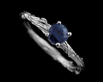 Organic Design Vintage Style Blue Sapphire 14K  Gold Engagement Ring