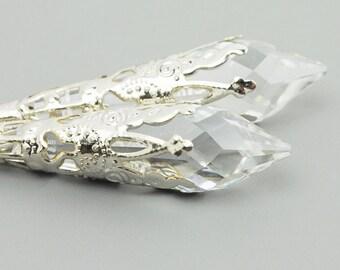 Clear Earrings - Swarovski Earrings - Silver Dangle Earrings - Filigree Earrings - Swarovski Jewelry  - Leverback Earrings for Women