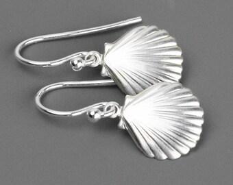 Sterling Silver Shell Earrings - Drop Earrings - Nautical Earrings - Beach Jewelry