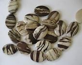 2 Oval Focal Pendant Beads Brown Zebra Jasper 35 MM Sale