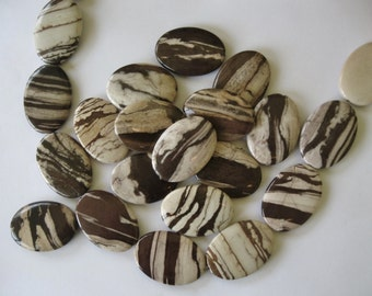 2 Oval Focal Pendant Beads Brown Zebra Jasper 35 MM Sale