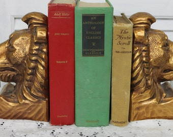 Vintage Rare Gold Lion Head Bookends Progressive Art Chalkware Signed Dated 60s, 70s