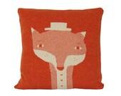 Decorative Pillow - Mr.Fox - soft knitted pillow - orange, ecru, 18x18, includes insert