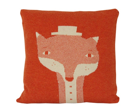 Decorative Pillow - Mr.Fox - soft knitted pillow - orange, ecru, 18x18, includes insert