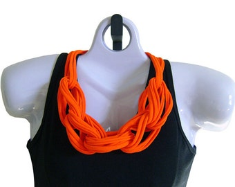 FABRIC NECKLACE, Bright Orange, Upcycled T-shirt Fabric, Handmade, Ready to Ship. (See Pic #5 for Optional Styling)