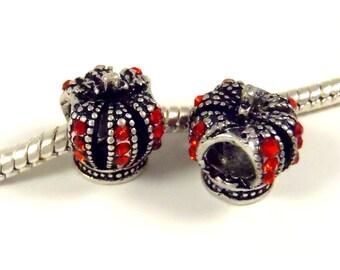 3 Beads - Queen King Crown Red Rhinestone Silver European Bead Charm E0860