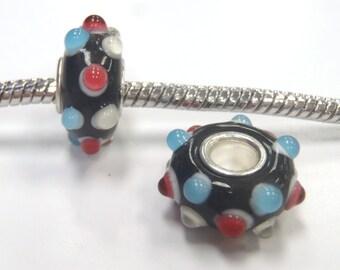 3 Beads - Blue Ivory Red Bumpy Lampwork Glass Brass Core Silver European Bead Charm E1004