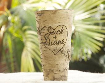Personalized Shabby Chic/Rustic Chic Birch Bark Vase - Custom Burned and Engraved Birch Bark Vase - Wedding Centerpiece - Wedding Party Gift