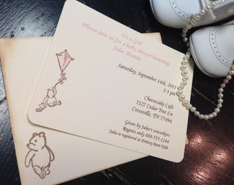 Winnie the Pooh Invitation-Pooh Baby shower invitation-Pooh with kite-Pooh stationery