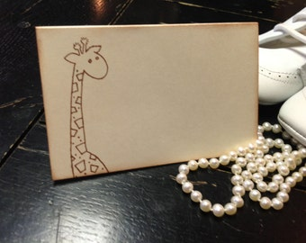 Giraffe  Placecards-Baby shower place cards-giraffe favors-Buffet cards-Set of 10