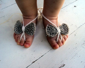 100% linen Baby Bow Barefoot, Knitted/Crochet Baby Barefoot Sandals, White Bow Barefoot