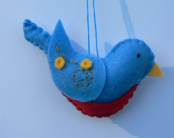 Felt Bluebird Ornament - Felt Bird Ornament