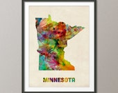 Minnesota Watercolor Map USA, Art Print (385)