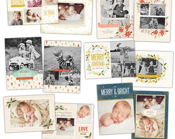 INSTANT DOWNLOAD - Christmas Card Photoshop templates - Bundle - e923