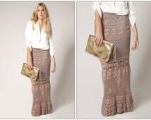 Crochet skirt . Lace skirt maxi  Boho style . Crochet handmade , custom made.