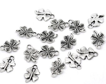 4 Leaf Clover Charm 10 Charms 17 x 12 mm Antique Silver Tone,  ts320