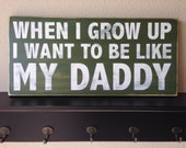 "Distressed Wood Sign - ""When I Grow Up"" - Boy's Room - Father's Day Gift"