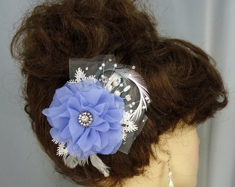 Lavender Fascinator, Floral Hair Clip, Bridal Headpiece, Wedding Accessory, REX122