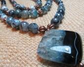 Triple Strand Blue Agate Antique Copper Necklace