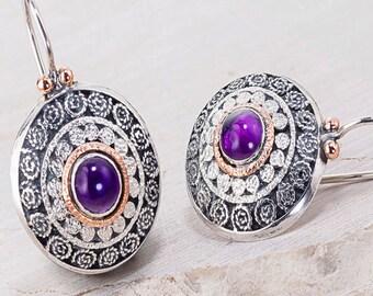 Purple Amethyst Earrings, Amethyst Gemstone Earrings, Filigree Earrings, Purpul gemstone