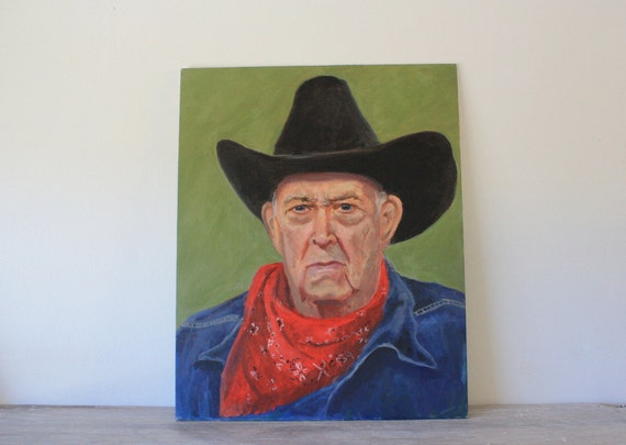 Vintage Art Old Man Cowboy Portrait Painting