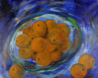 """ORIGINAL ABSTRACT ACRYLIC Painting, 20 x 24 x 3/4"""" Titled: Bowl of Oranges, Art on Canvas, Expressionism, Blue, Orange, Green, Purple"""