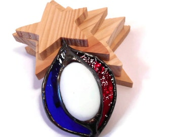 Red White and Blue Stained Glass Jewelry Necklace Handmade Jewelry Glass and Metal Jewelry Necklace Red White Blue Glass Necklace Pendant