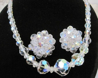 Crystal Necklace Earrings Faceted Glass