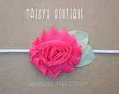 75% Off Hot Pink Shabby Flower Headband/ Newborn Headband/ Baby Headband/ Flower Girl/ Wedding/ Photo Prop