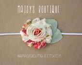 75% Off Vintage Print Shabby Flower Headband/ Newborn Headband/ Baby Headband/ Flower Girl/ Wedding/ Photo Prop