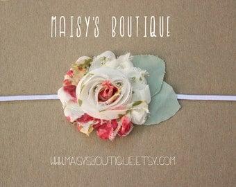 75% Off Vintage Print Shabby Flower Headband/ Newborn Headband/ Baby Headband/ Flower Girl/ Wedding/ Photo Prop
